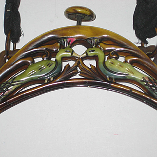 1920's Celluloid Purse Frame with Hand Painted Peacocks-Dbl Sided