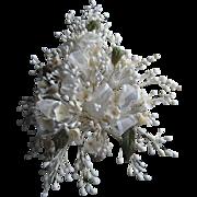 Vintage Wax Bud Wedding Bouquet w/19 Flowers, Ribbon
