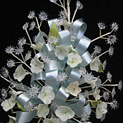 Vintage Wedding Bouquet w/Hand-Spun Glass, Flowers & Blue Ribbon
