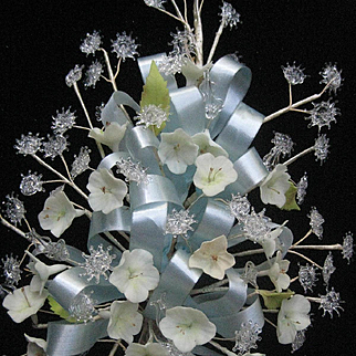 Vintage Wedding Bouquet w/Hand-Spun Glass, Flowers & Blue Ribbon