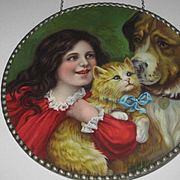 Antique German Flue Cover w/Young Girl, Cat with Bow & Dog with Tag