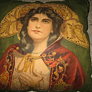 "RARE 1900's Signed Maxine Elliott ""The Merchant of Venice"" Litho Pillow w/Sequins"