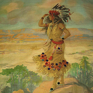 1906 Jeweled Chromolithograph Pillow Top of Indian Maiden Squaw in Headdress w/Bow