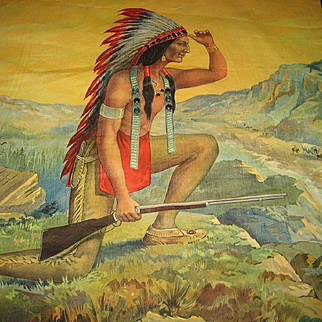 1909 Jeweled Chromolithograph Pillow Top of  Indian Scout in Headdress w/Gun, Wagon Train