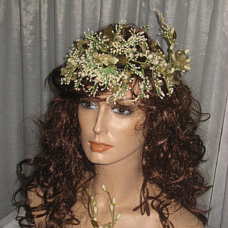 2 Piece Antique French Wax & Hard Buds Tiara & Corsage Set