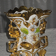C. 1800's French Porcelain Wedding Vase w/Raised Flowers & Gold Gilt