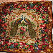 ON HOLD-DO NOT BUY-Victorian Double Peacock Soft Wool Floral Throw, Bed Cover, Rug, Wall Hanging