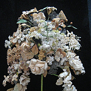 ON  HOLD-DO NOT BUY-Amazing 1880's French Wedding Bouquet w/Wax Buds, Fabric Flowers