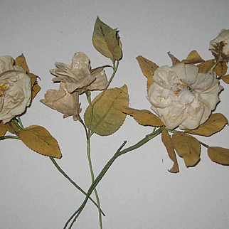 Three Antique 1880's French Fabric Floral Millinery Stems from Wedding
