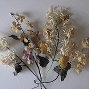Four Antique 1880's French Fabric Floral Millinery Stems from Wedding