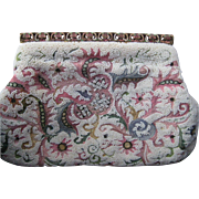 Vintage Josef Hand Beaded in France White Beaded Tambour Embroidered Clutch Purse-Enamel Frame