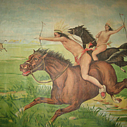 1907 Chromolithograph Pillow Top of Native American Indian's on Horses Hunting Buffalo