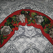 "Antique Beaded Needlepoint Roses Panel Runner  52"" Long"