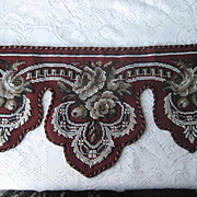 Antique Beaded & Needlepoint Roses Pelmet Valance-Burgundy