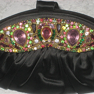 Superb Hobe Framed Satin Purse w/Contents-Possibly Never Used