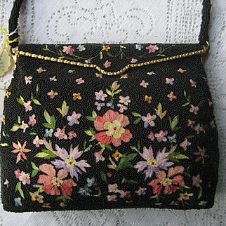 Vintage Tambour Beaded HM in France Purse w/Tags & Contents-Never Used