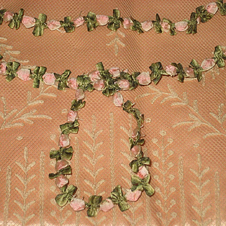 """C. 20's French Ribbon Work Trim in Pink & Green-28"""""""
