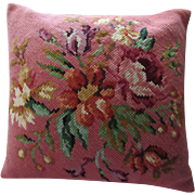 Vintage Extra Large Floral Needlepoint Wool Pillow