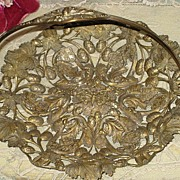 Ornate Victorian Basket w/Handle-Butterflies, Acorns, Leaves