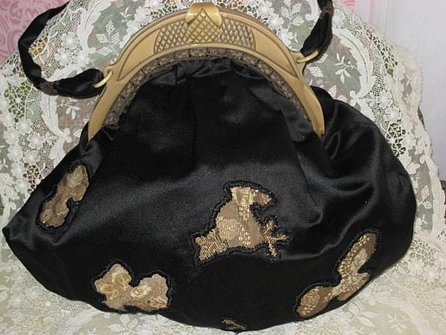 Vintage Black Silk Satin Purse w/Celluloid Frame