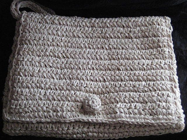 Huge Vintage Raffia Straw Wristlet Purse, Made in Italy, Never Used