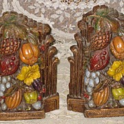 Pair C. 20's Carved Flowers, Fruit, Leaves Wooden Bookends