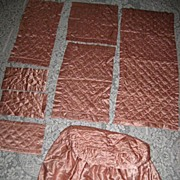 Gorgeous 8 Piece Vintage 30's Quilted Runner/Dresser Scarves Set w/Ottoman Cover-Rosy Pink Color-PARIS APT. CHIC