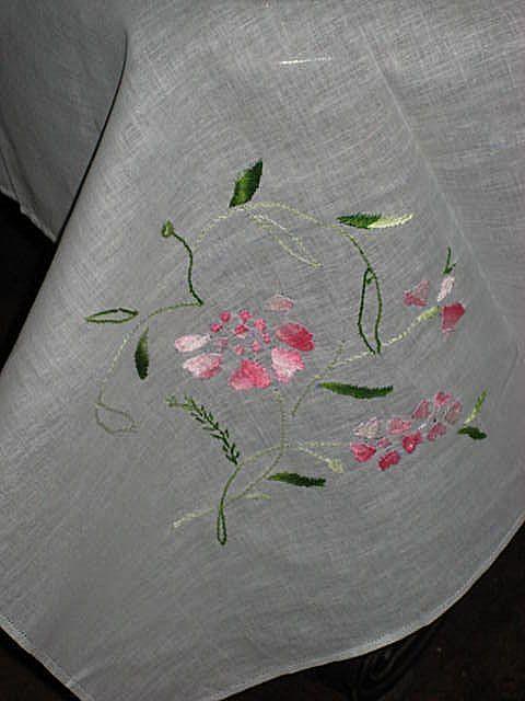 Vintage Light Blue Hand Embroidered Linen Tablecloth 12