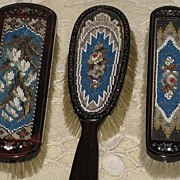 Antique 3 Piece Tortoiseshell & Beadwork Brush Set w/Mother of Pearl Detail