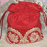 Vintage Red Taffeta Purse w/Beadwork & Needlepoint