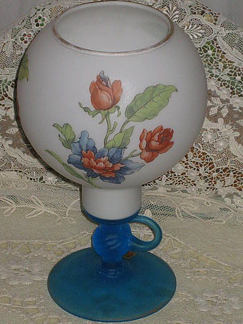 Vintage Cellini, Italy Satin Glass Vase/Candleholder w/Floral Detail
