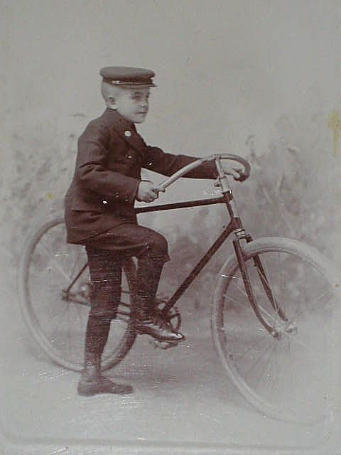 Antique Cabinet Card of Young Telegram Delivery Boy in Uniform with Large Bicycle