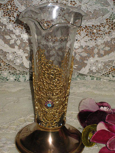 Vintage Jeweled Amp Lacy Gold Metal Vase W Ruffled Glass