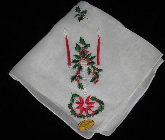 Vintage Christmas Hanky w/Candles, Poinsettia, Holly & Berries-Made In Switzerland-NEVER USED
