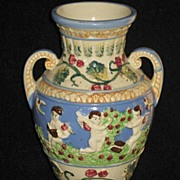 Vintage Two Handled Vase with Five Winged Cherubs, Birds & Flowers