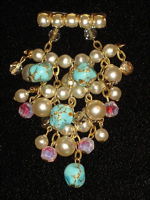 Vintage Faux Pearl & Marbleized Turquoise Dangle Brooch