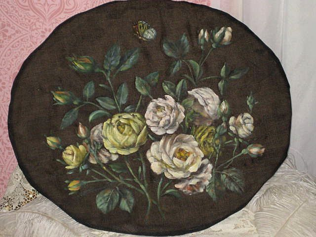 Antique ROSES Oil Painting on Black Satin w/Cardboard Back-Paris Apt. Chic