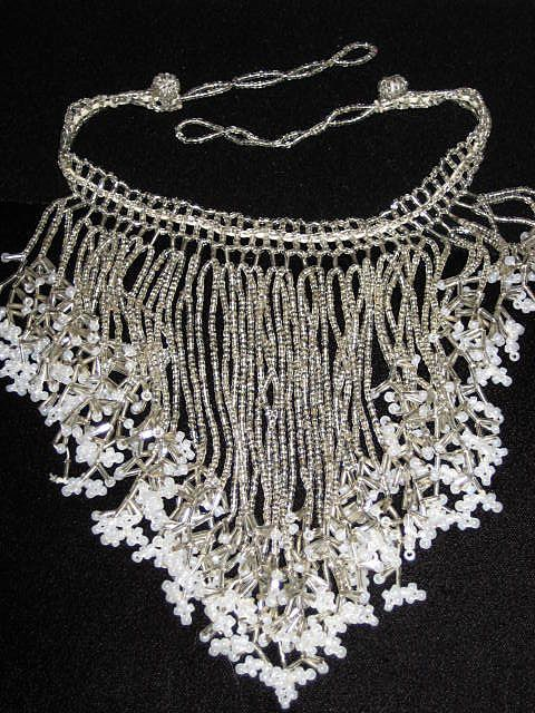 Vintage Hand Beaded V Shaped Bib Necklace w/Faux Pearl Detail