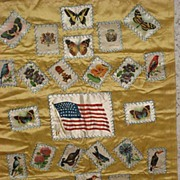 Gorgeous Vintage Tobacco Silks Pillow Top-27 Silks w/Butterflies, Birds, Flowers, Countries & Large American Flag