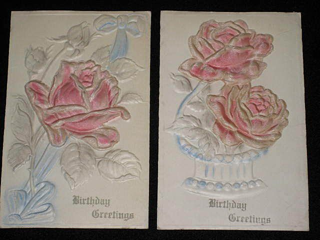 Pair of 1910 Embossed Pink Roses Birthday Cards