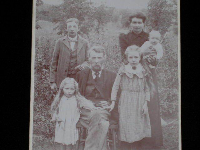 Antique Victorian Cabinet Card of Family w/Four Children in a Field