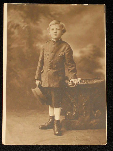 Antique Victorian Cabinet Card of Young Boy in Uniform w/Gloves, Hat