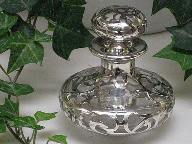 Antique Sterling Silver Overlay Perfume Bottle-Signed & #'d