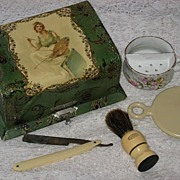 "ON HOLD FOR 'J'-DO NOT BUY-Antique Victorian Celluloid Shaving Box w/Contents-Young Lady w/Painting Palette-Incl.""The Prince's Own"" Hand Held Razor"