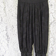Hip & Fabulous 1970's Black Silk Harem Style Pants-Size 6