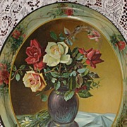 Stunning Antique C. 1900's Metal Tray with Red & Yellow ROSES with Red Roses Border