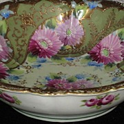 Vintage Hand Painted Floral Porcelain Bowl with Ornate Gold Gilt