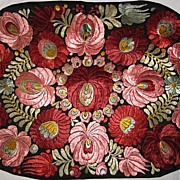Superb 1920's Matyo Hand Embroidered Pink & Burgundy Floral Pillow or Runner