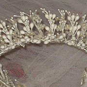 Vintage C. 30's Round Wax Wedding Tiara Crown & Veil w/Fabric Flowers