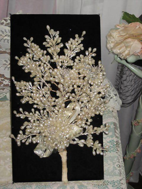 C. 1930's Wax Wedding Bouquet with Three Spun Glass Flowers